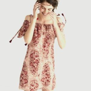 Madewell Silk Off the Shoulder Paisley Dress